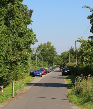 Burenkamp, neben der Wildblumenwiese nur Kleingärten, rechts wie links