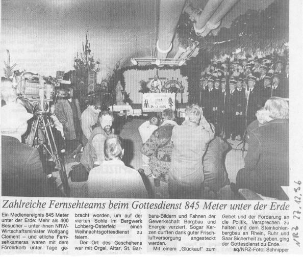 Heilig Abend unter Tage – Erinnerung an einen Gottesdienst auf der Zeche Lohberg vor 20Jahren