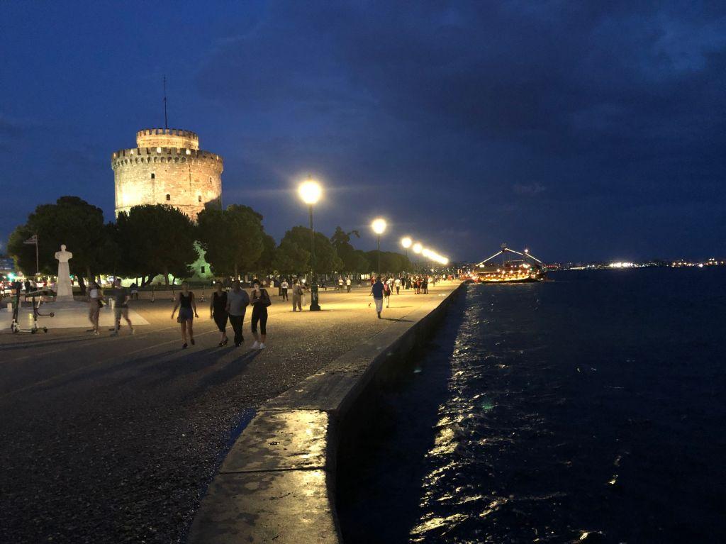 Thessaloniki mit dem Weißen Turm am Abend vor dem Rückflug.