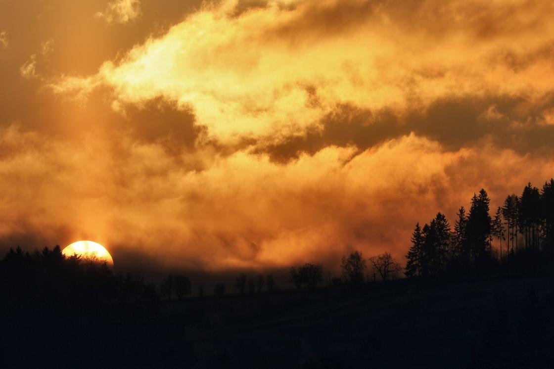 Sonnenaufgang über dunklem Wald